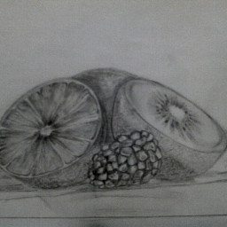 my draw drawn drawing bestdrawing fruit lemon peach kivi raspberry whiteandblack cool